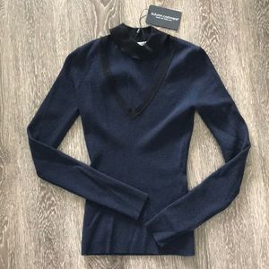 NWT autumn cashmere mock collar V-neck sweater